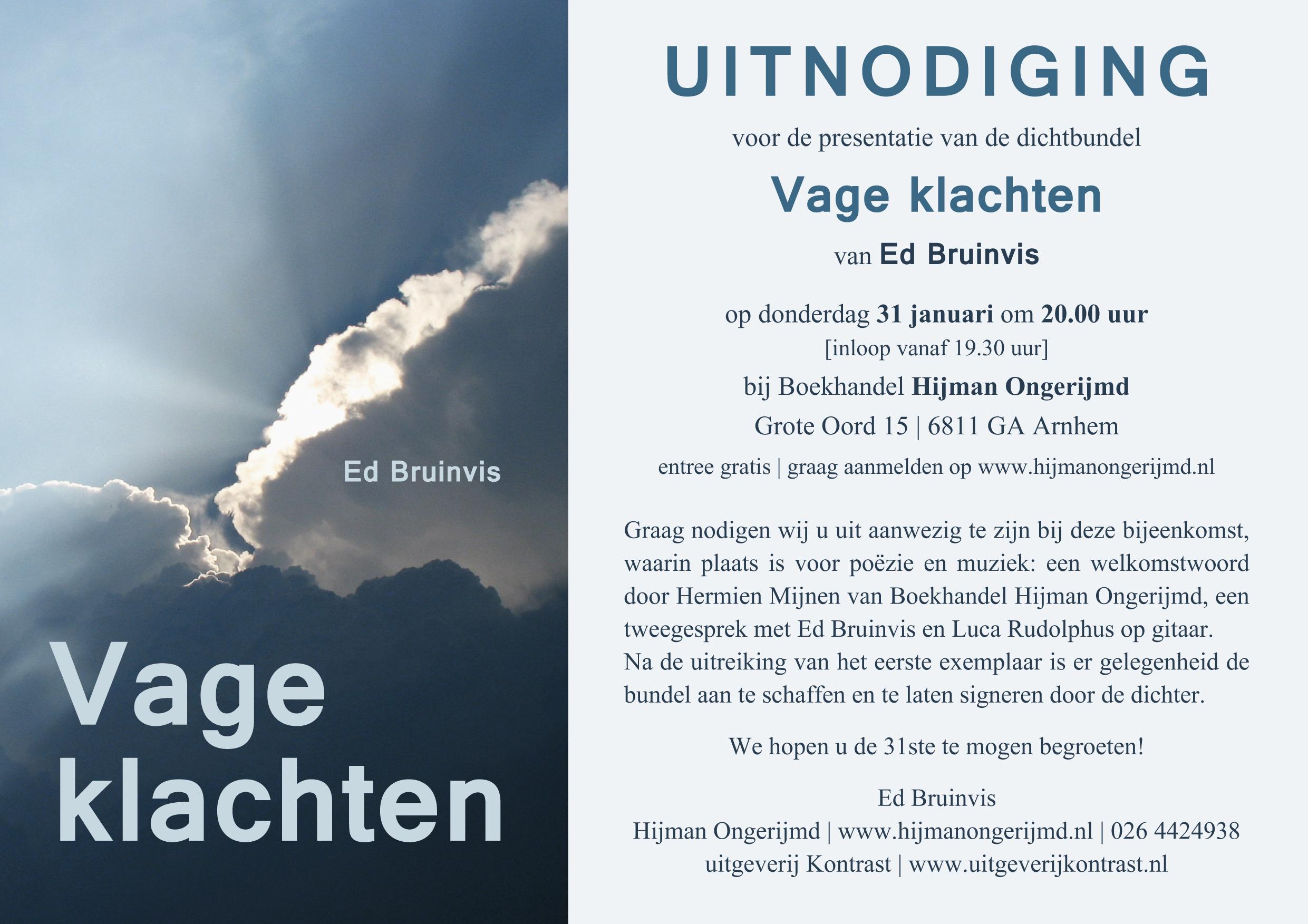 uitnodiging presentatie Vage Klachten_Ed Bruinvis.indd